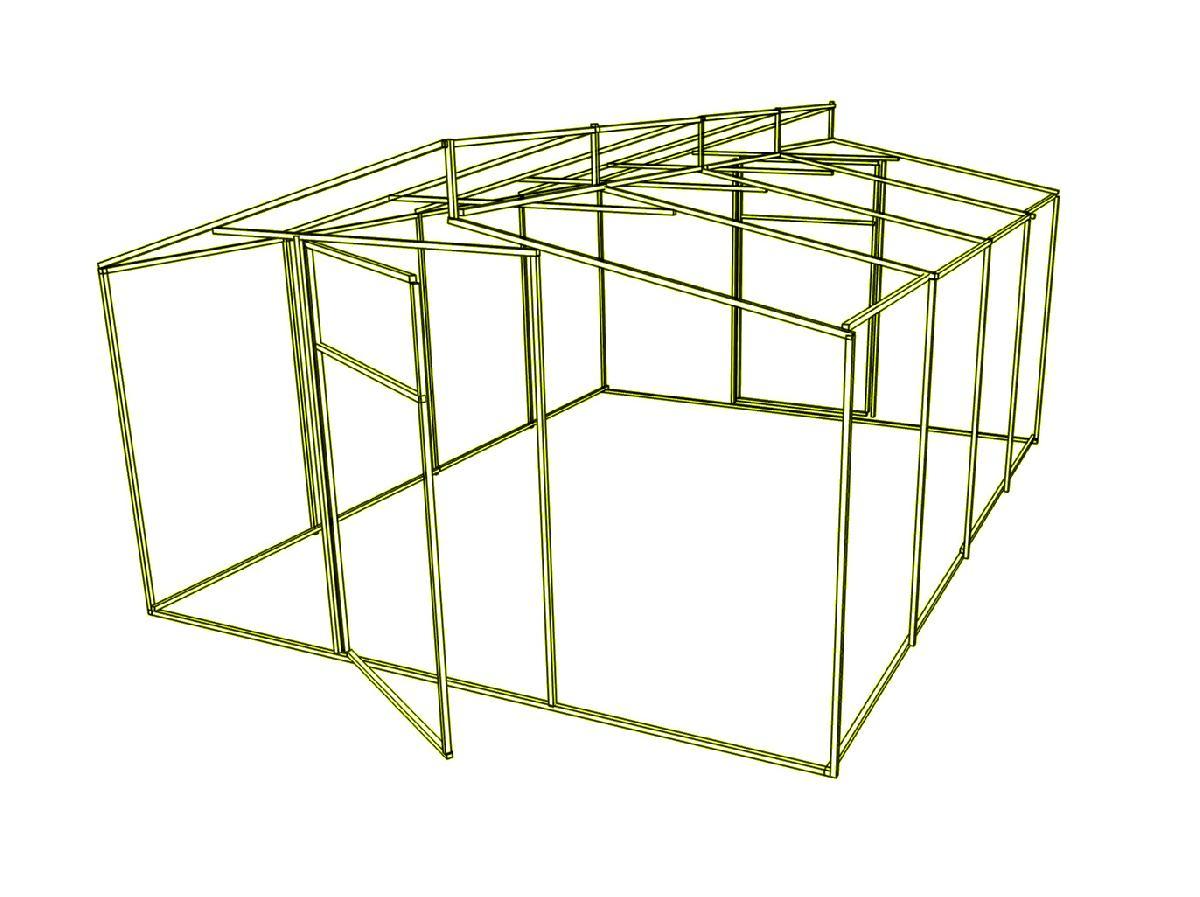 Доп. секция на каркас  теплицы Митлайдера (без поликарбоната) 500x200x250см